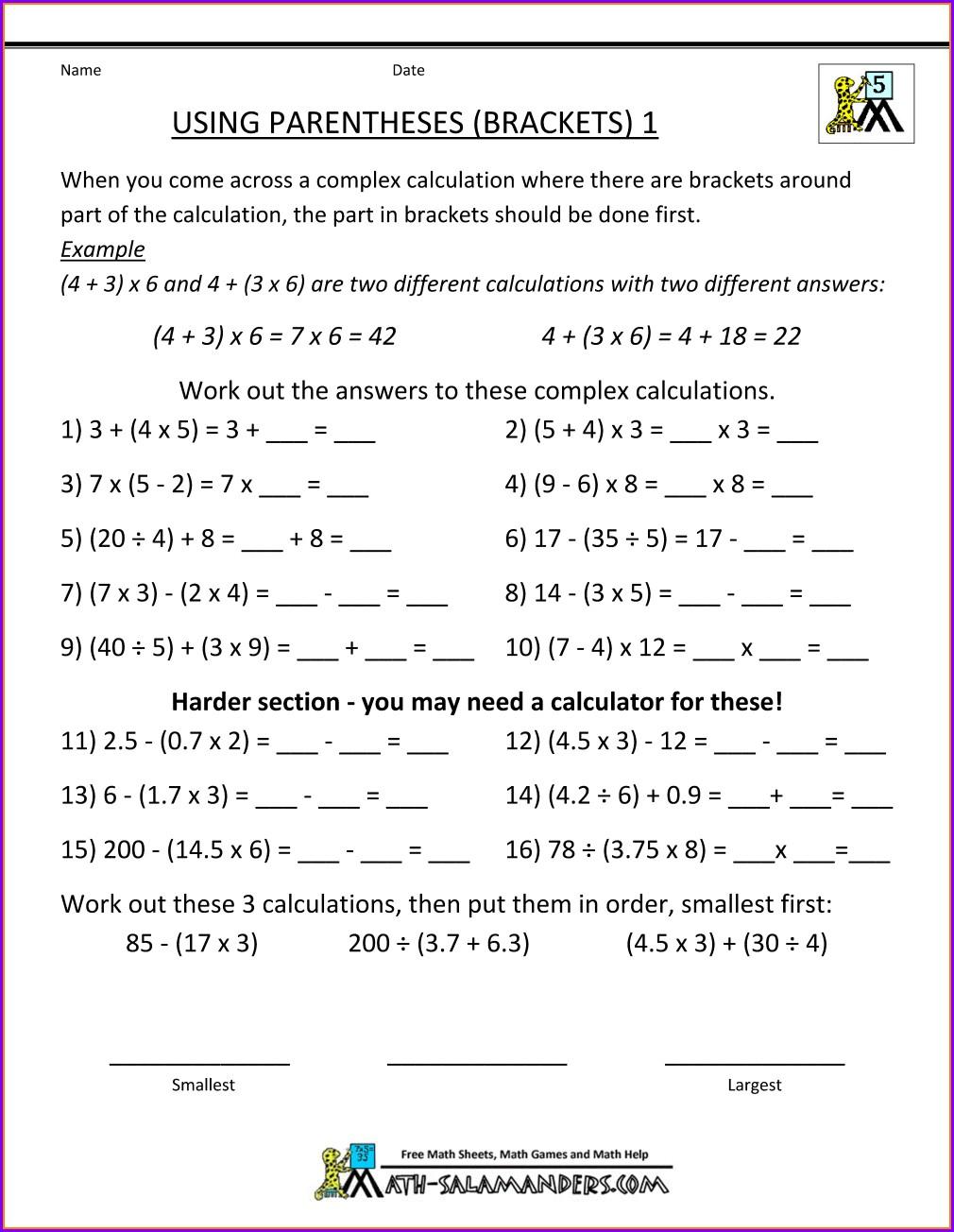 Bidmas With Negative Numbers Worksheet