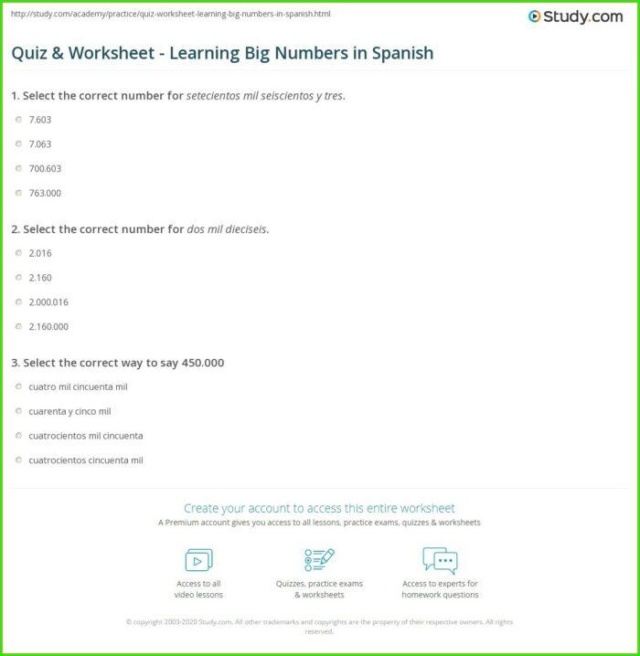 Big Numbers In Spanish Worksheet