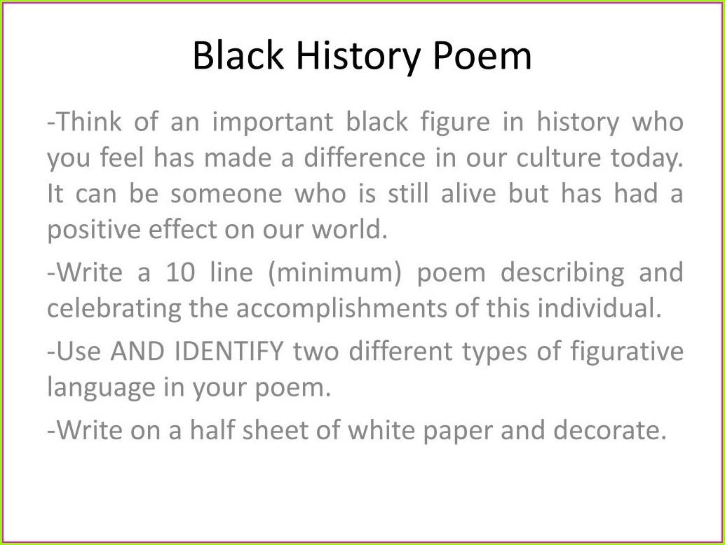 Black History Month Poem Printables