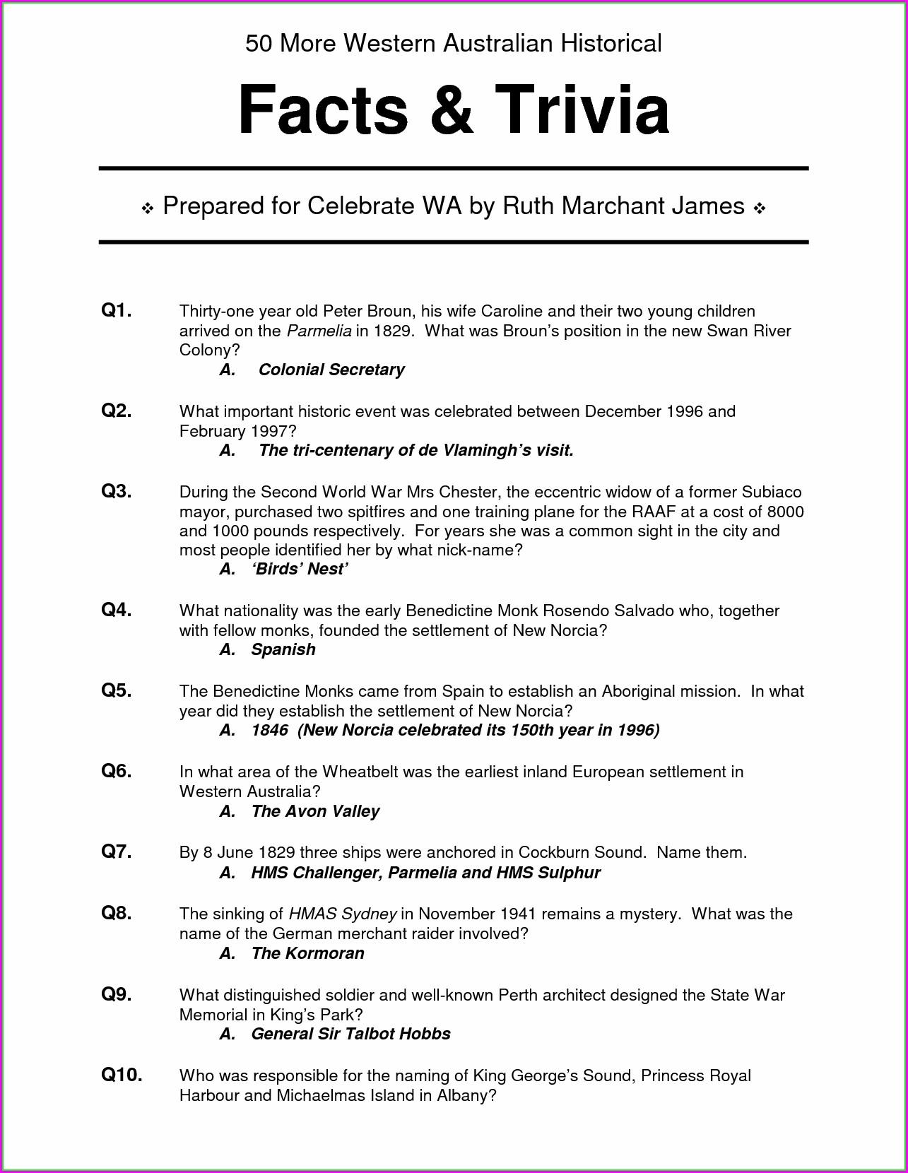 Black History Month Trivia Printables