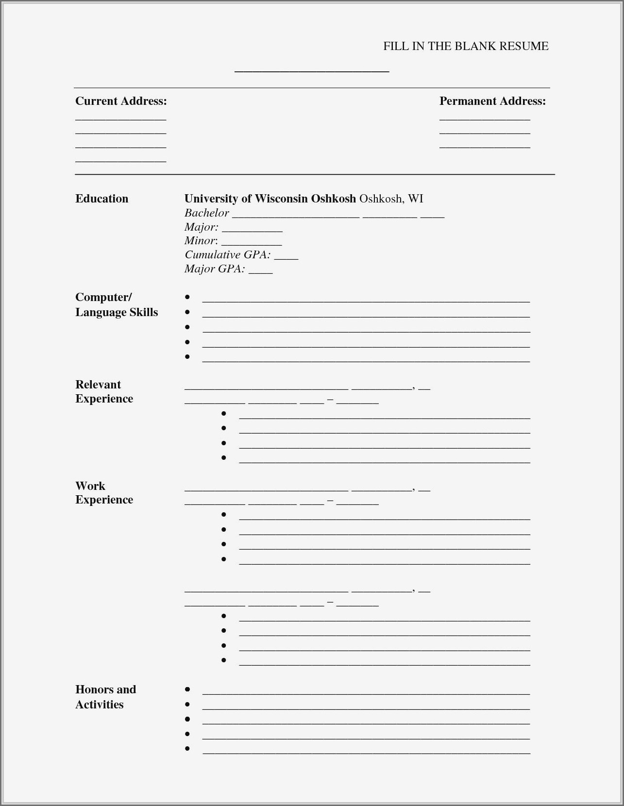 Blank Format Of Resume Download
