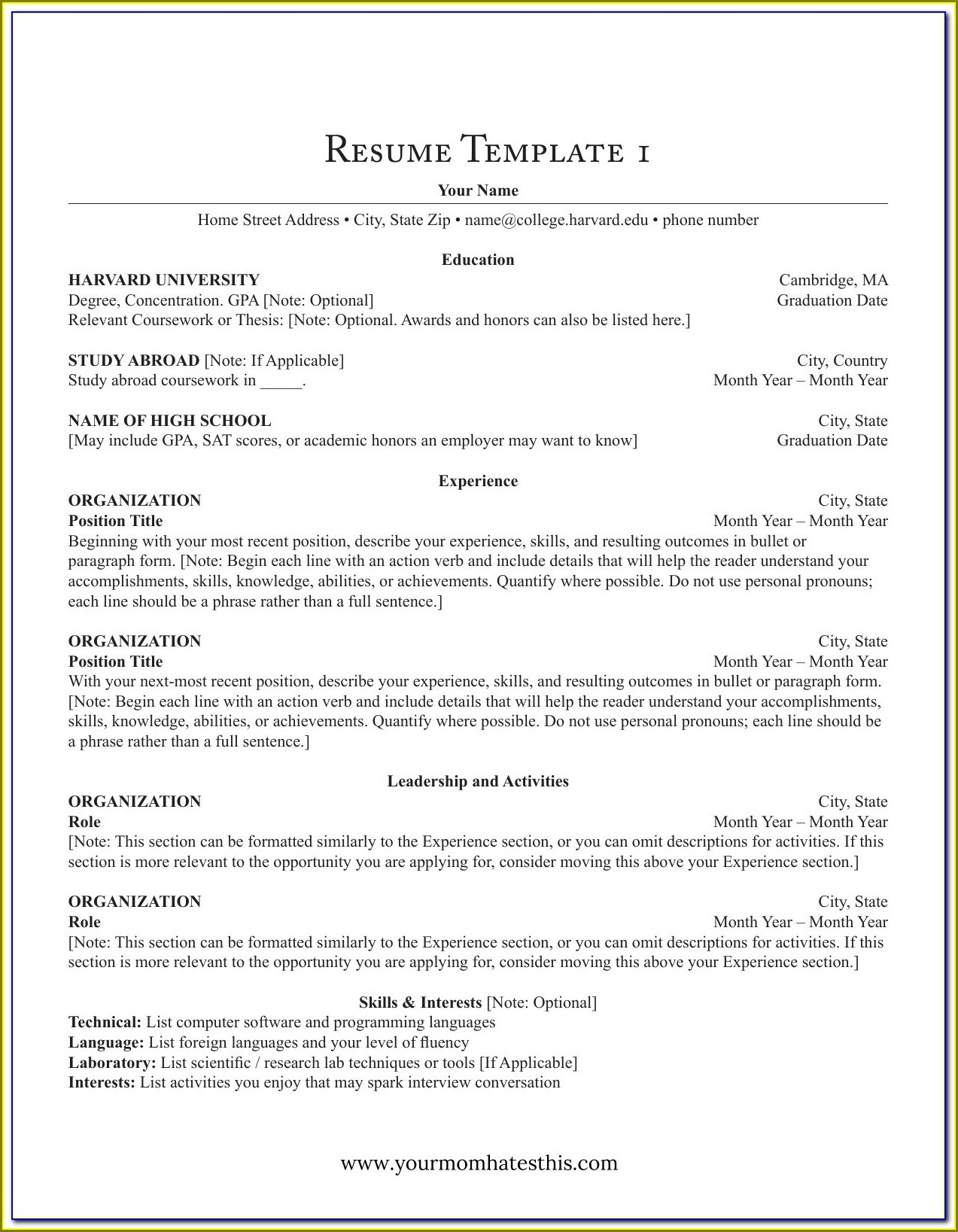 Blank Resume Form For Job Application Pdf
