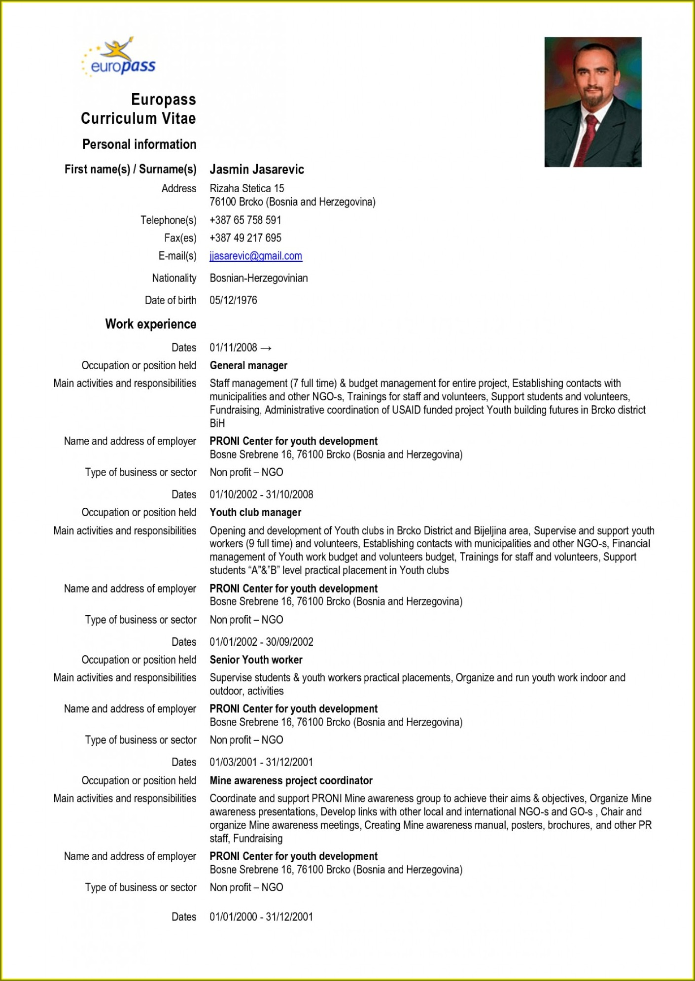 Blank Template For Curriculum Vitae