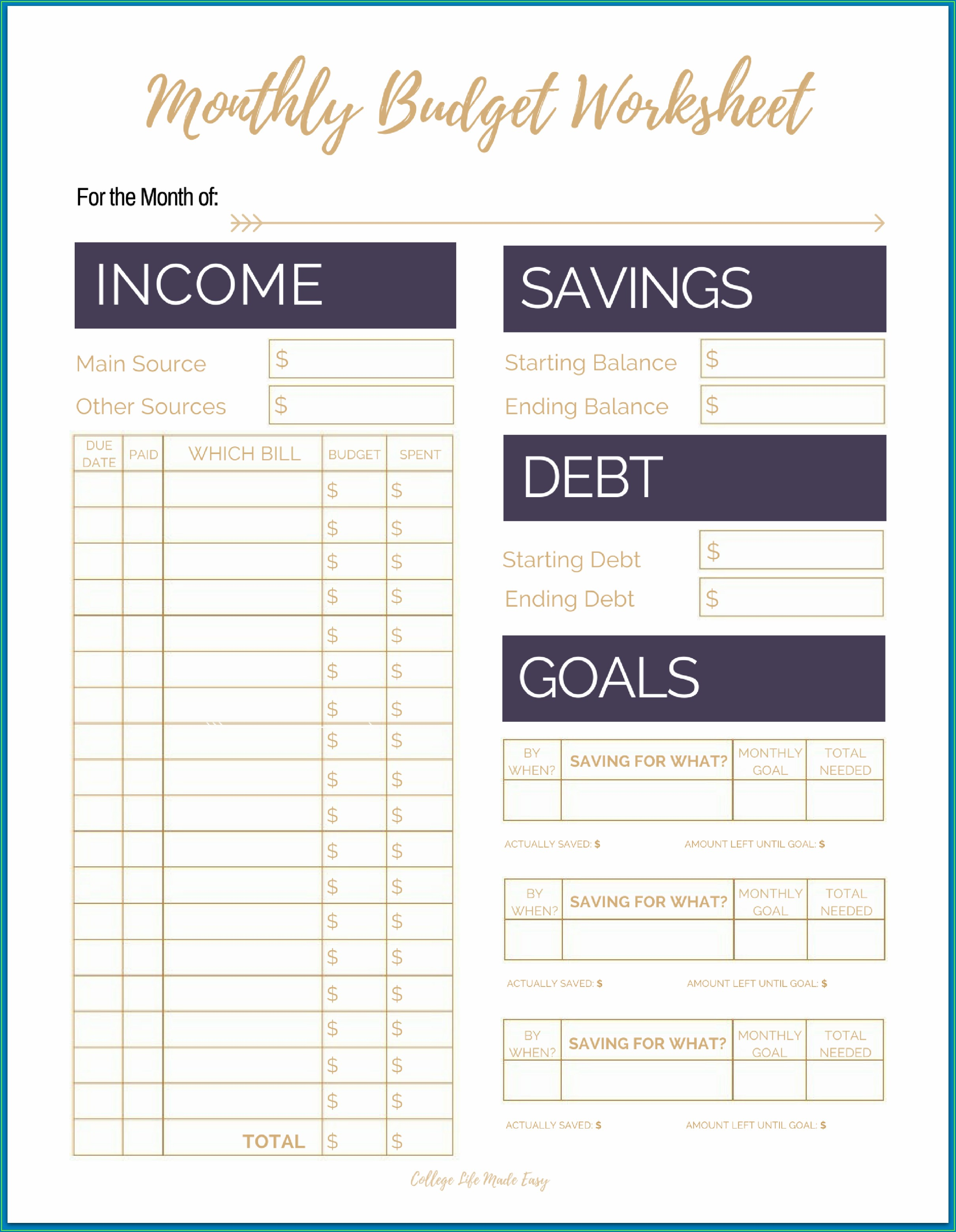Budget Worksheet For Students Pdf