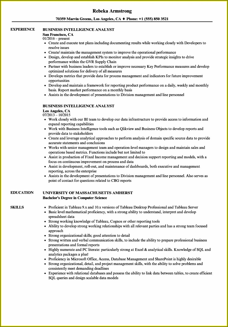 Business Intelligence And Analytics Sample Resume