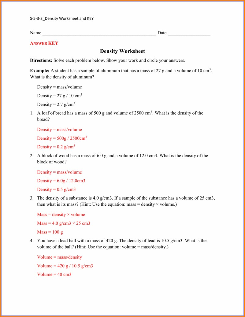 Calculating Density Worksheet With Answers