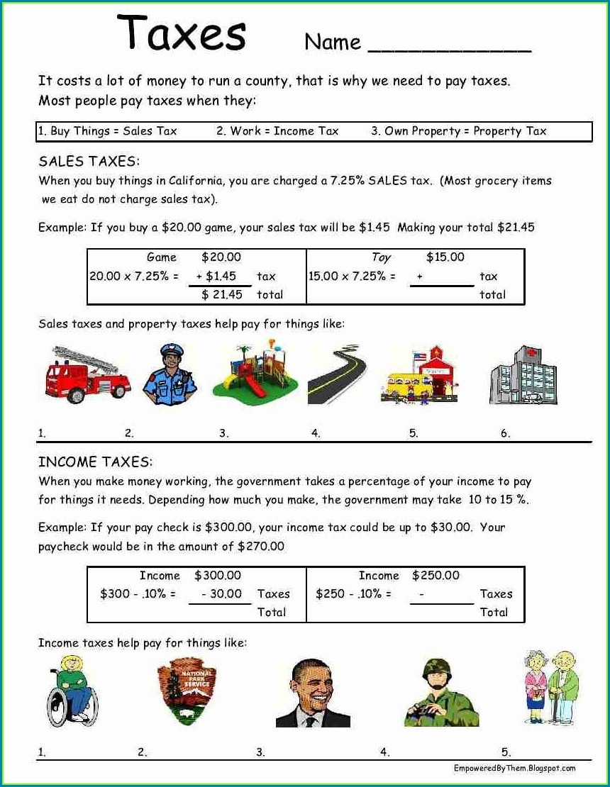 Calculating Sales Tax Worksheet For Middle School