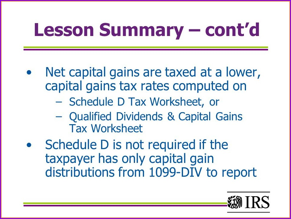 Capital Gains Tax Summary Worksheet