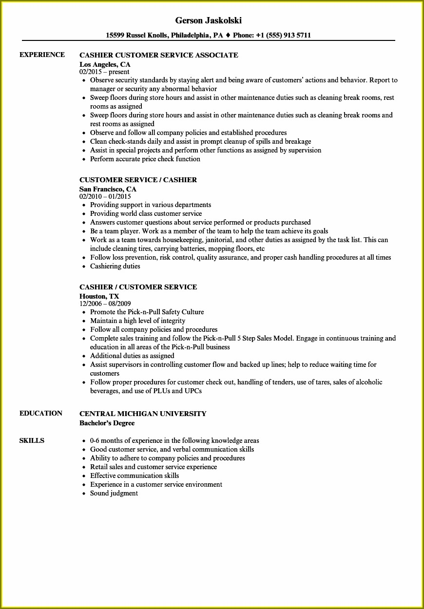 Cashier Customer Service Resume Samples