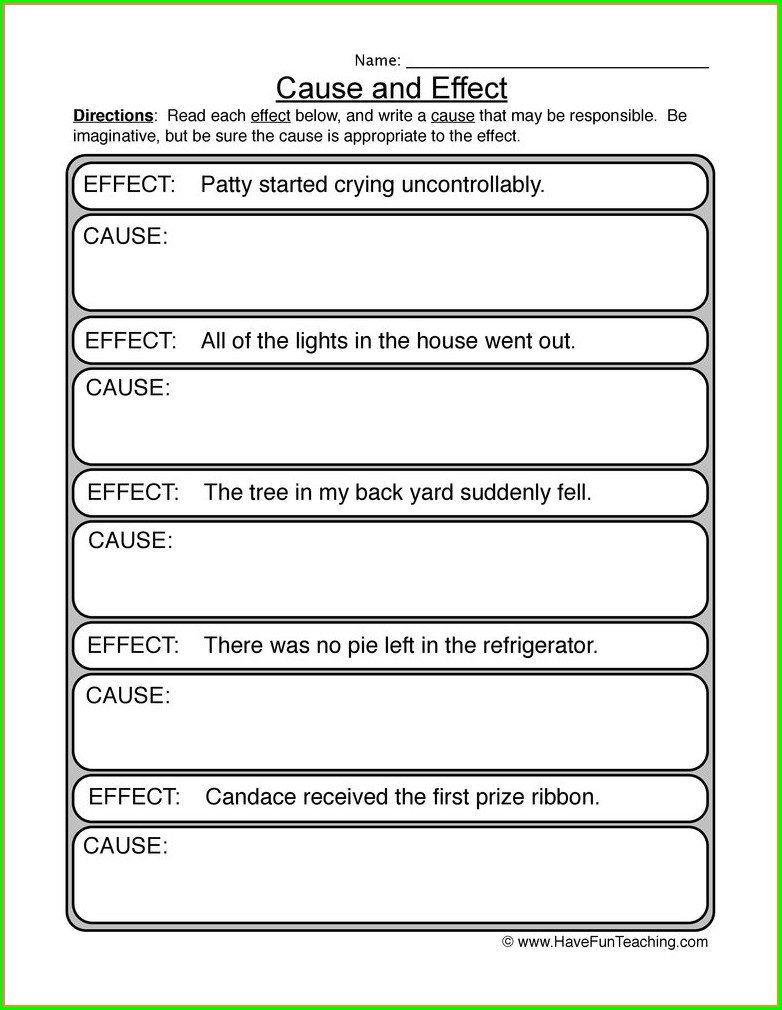 Cause And Effect Matching Worksheets Kindergarten
