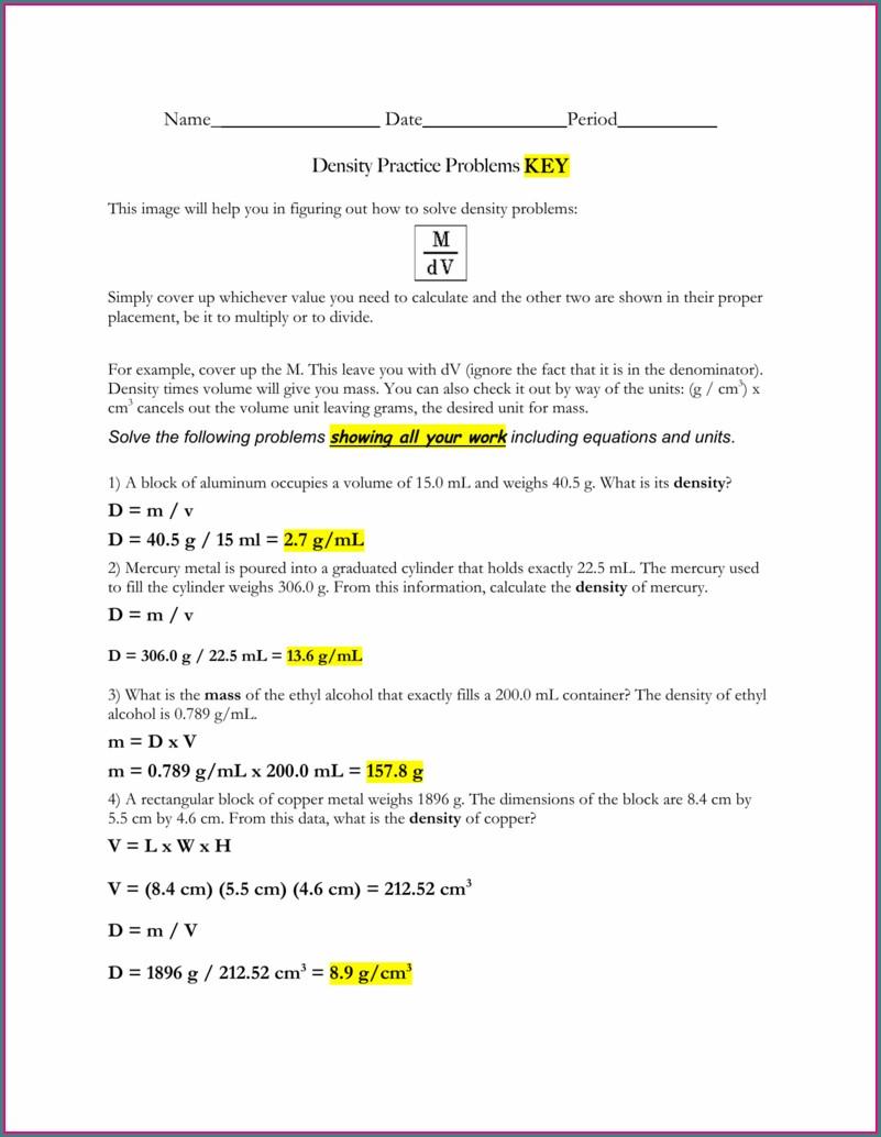 Chemistry Density Problems Worksheet Answer Key