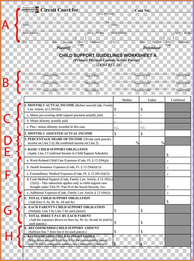 Child Support Obligation Worksheet Indiana