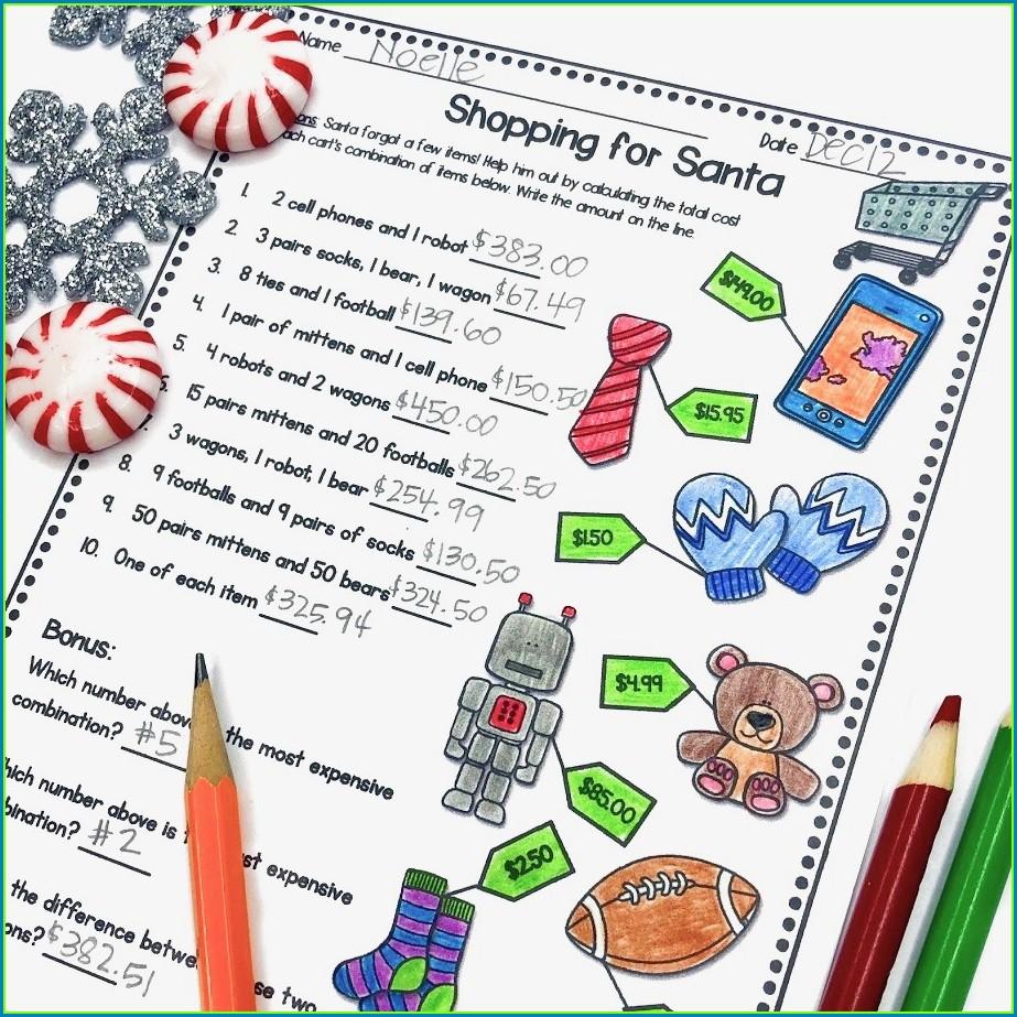 Christmas Math Shopping Worksheet