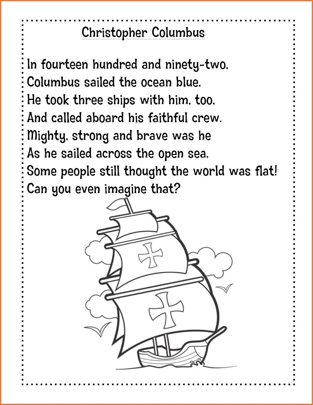 Christopher Columbus Worksheets For 1st Grade
