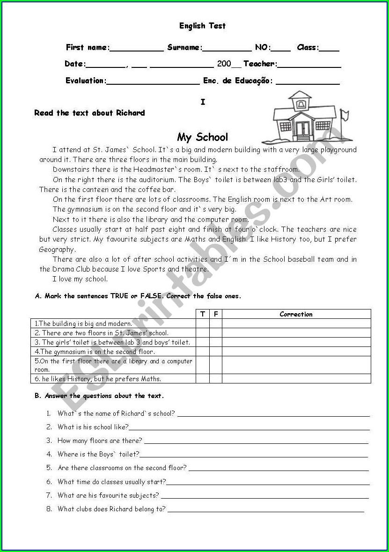 Classroom My School Worksheet For Grade 1