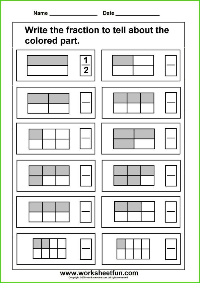 Color The Fractions Worksheets Second Grade