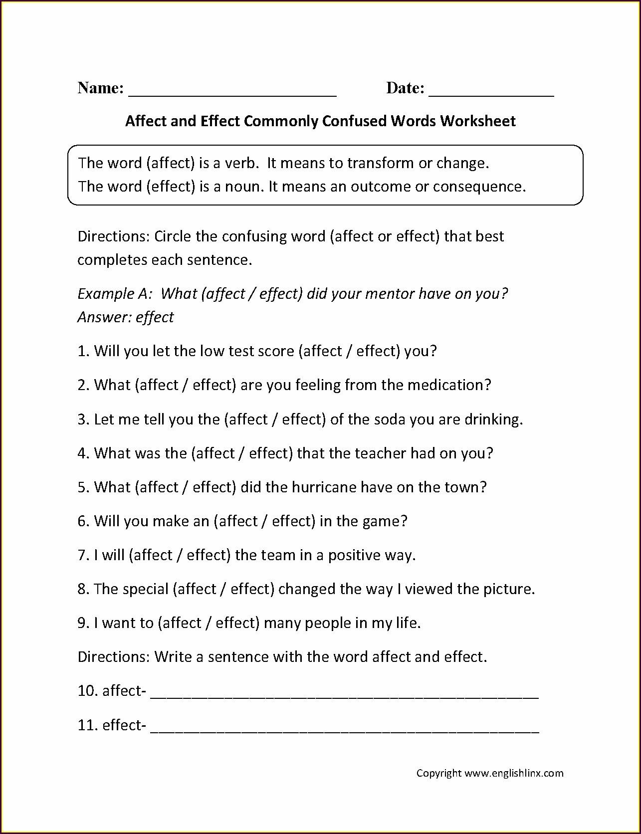 Commonly Confused Words Worksheet 1 Answer Key