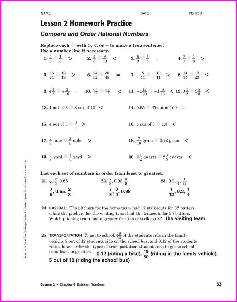 Comparing And Ordering Rational Numbers Worksheet