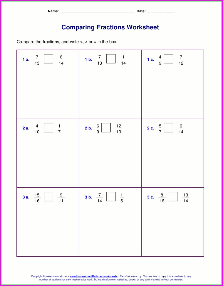 Comparing Fractions Worksheet 4th Grade Answer Key