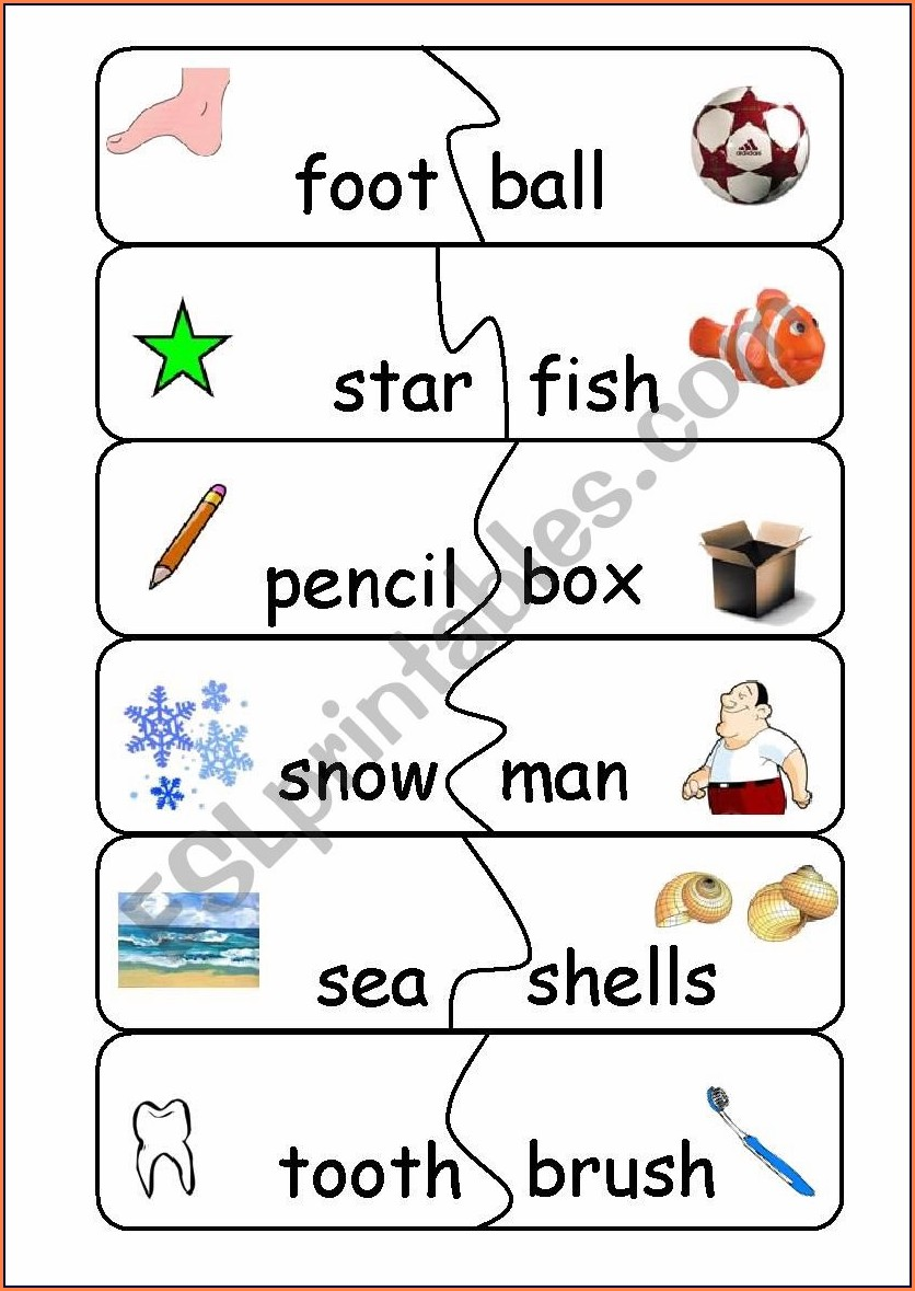 Compound Word Game Worksheet
