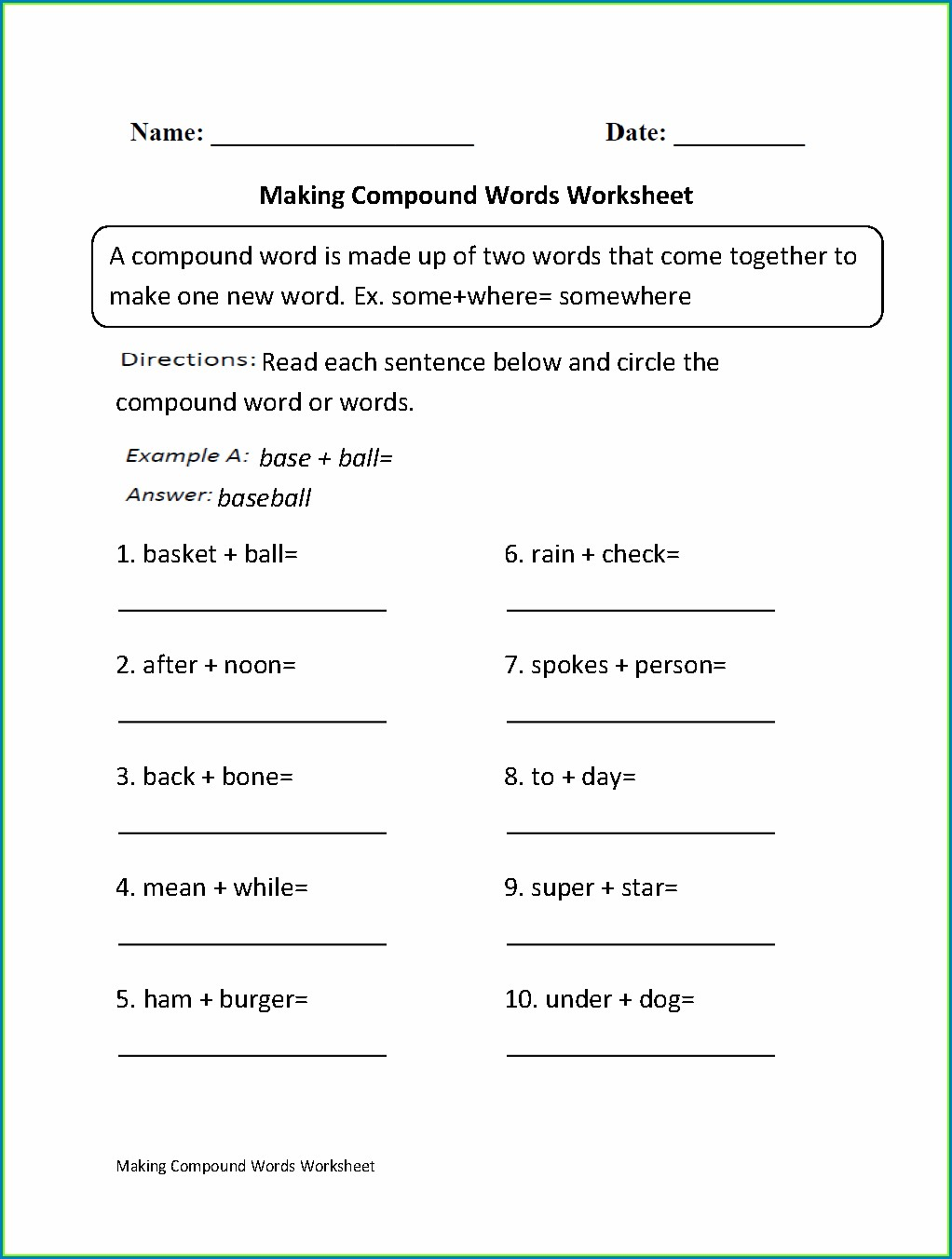 Compound Words Worksheet 4th Grade Pdf
