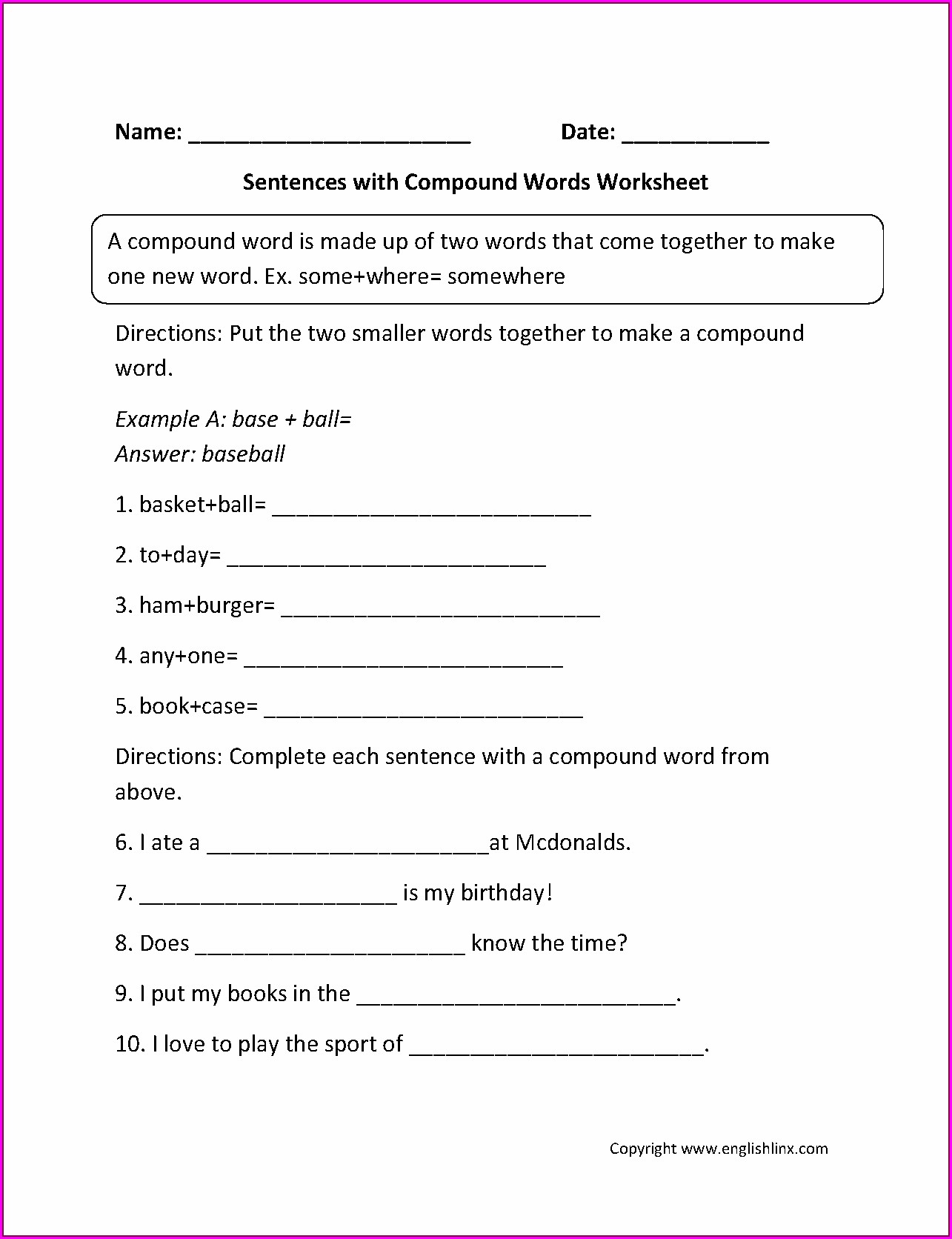 Compound Words Worksheet For Grade 4