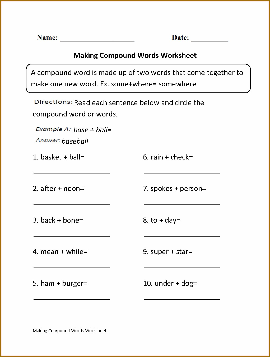 Compound Words Worksheet For Grade 9