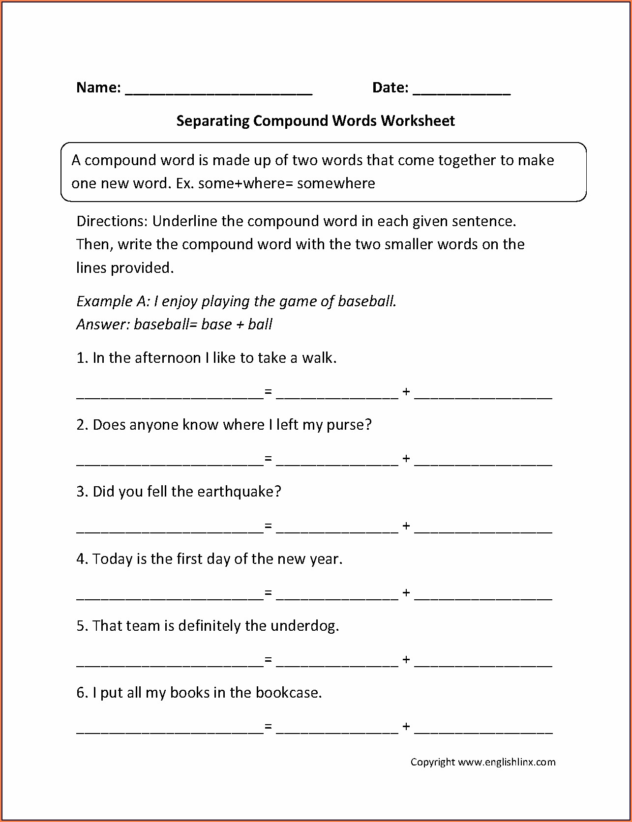 Compound Words Worksheets For 1st Grade