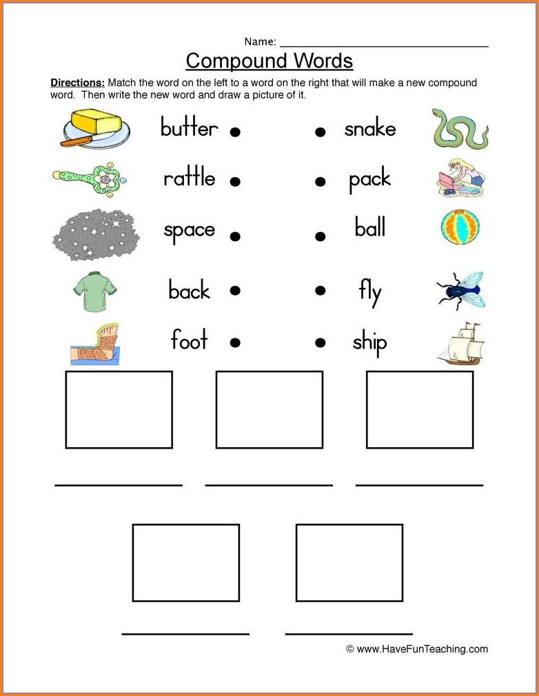 Compound Words Worksheets Kindergarten Pictures
