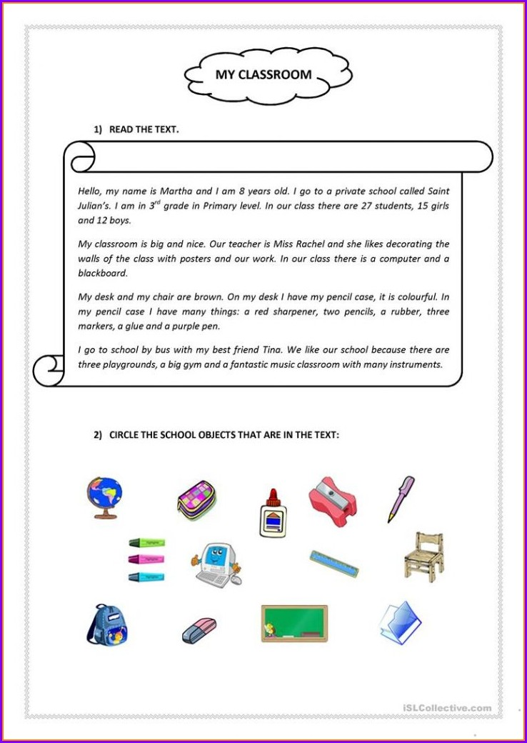 Comprehension English Worksheet For Grade 1