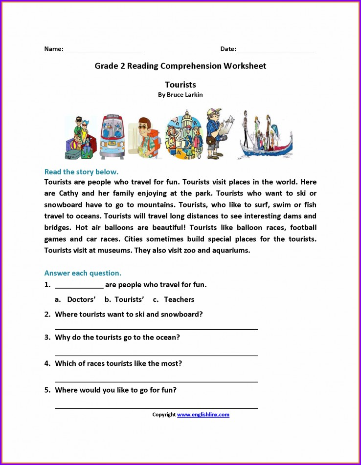 Comprehension English Worksheet For Grade 2