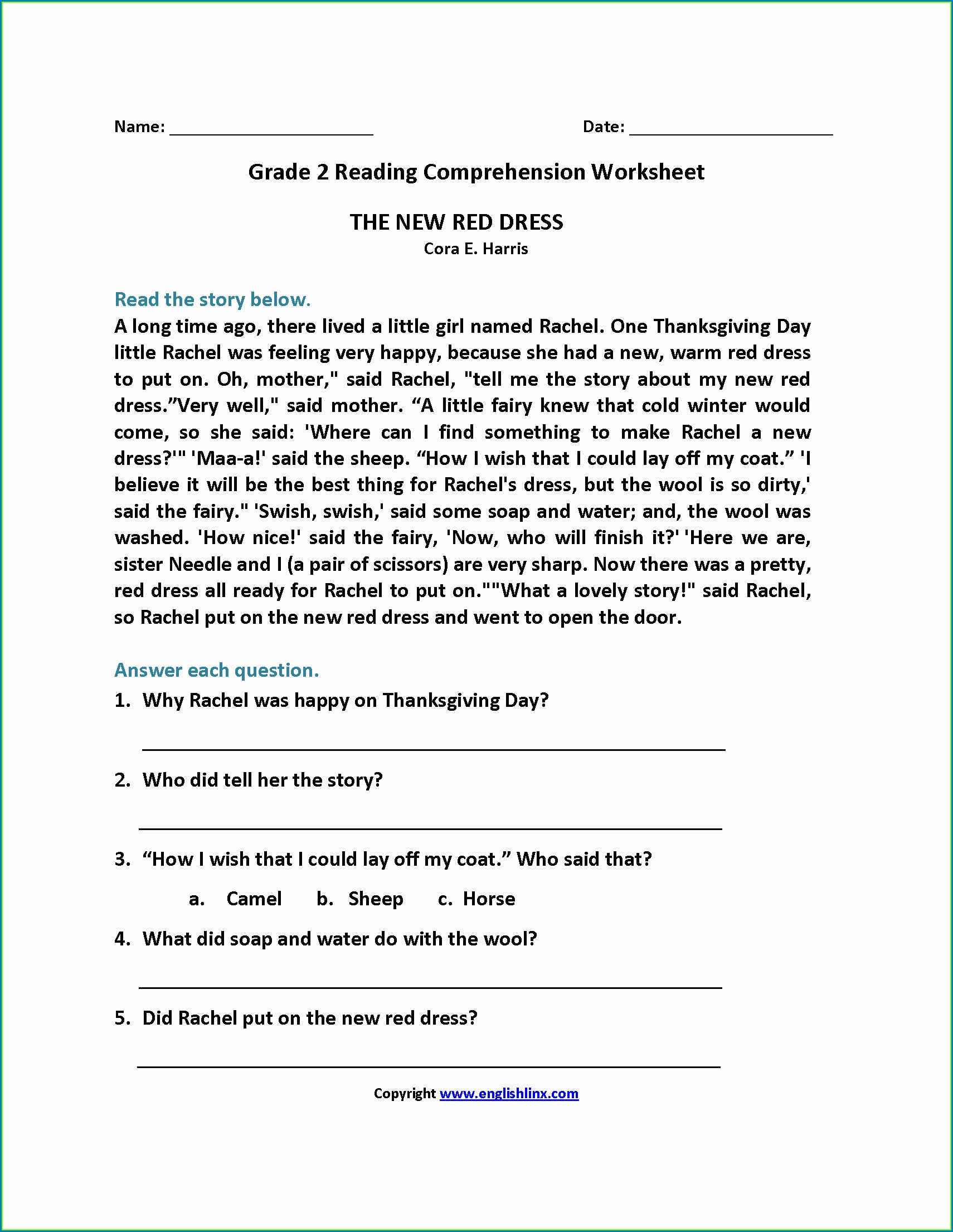 Comprehension English Worksheets For Grade 2
