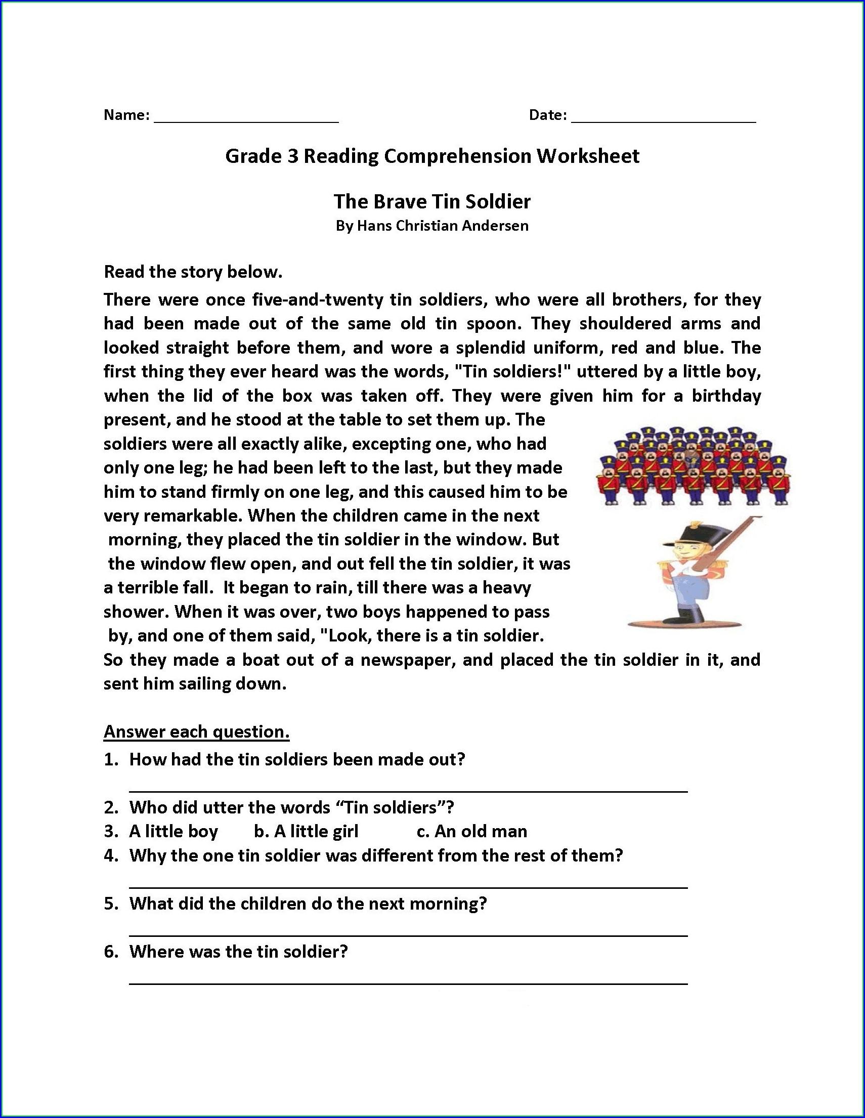 Comprehension Worksheets Grade 4