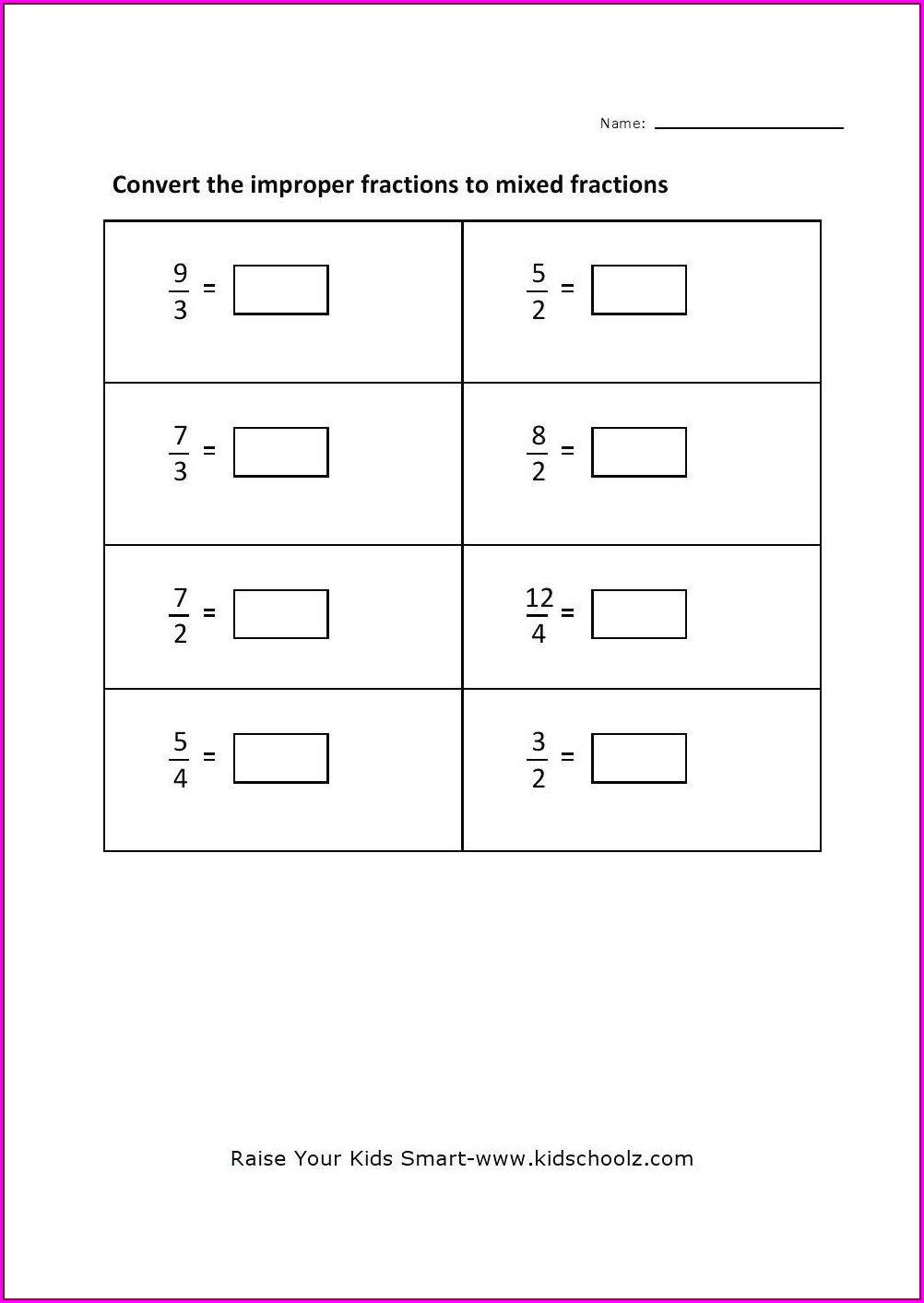 Converting Improper Fractions To Mixed Numbers Worksheet
