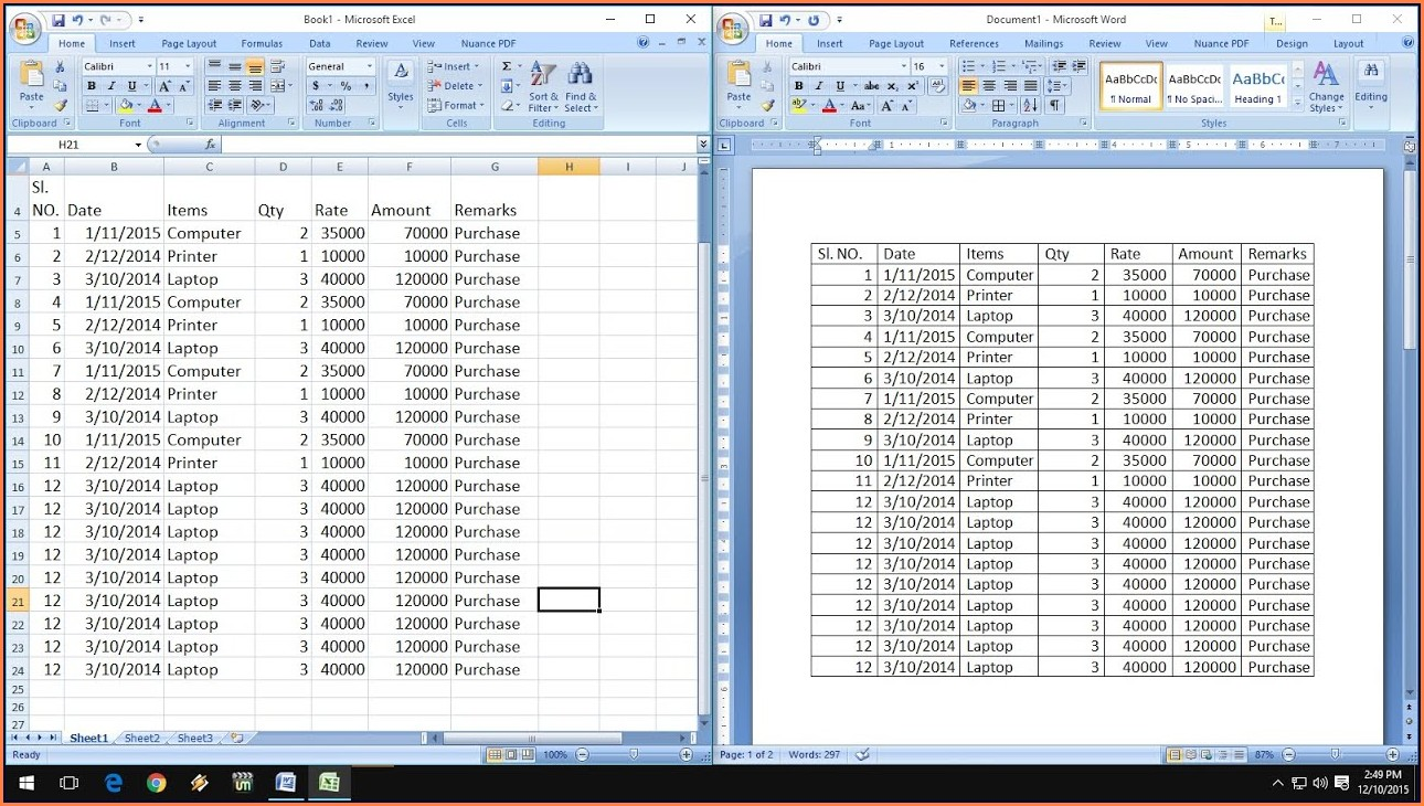 Copy Excel Worksheet To Microsoft Word