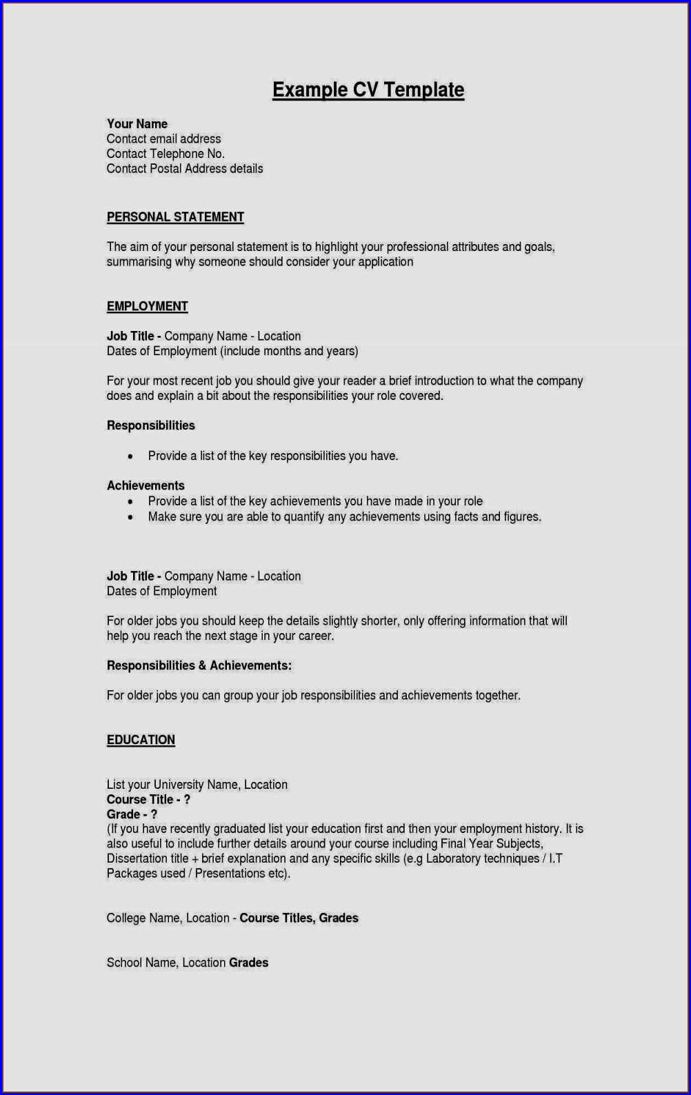 Curriculum Vitae Example Pdf Download