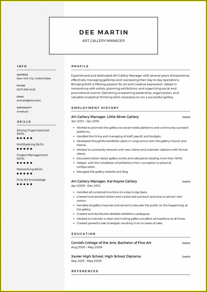 Curriculum Vitae Examples Free Download