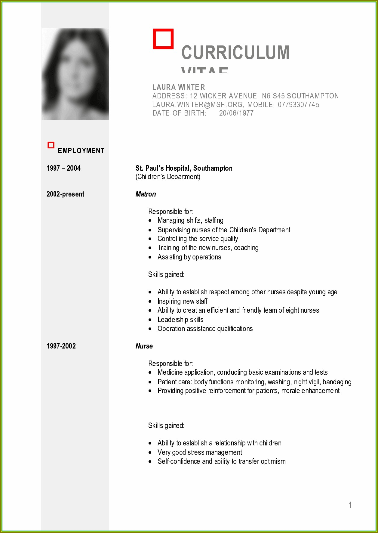 Curriculum Vitae Format Doc File Download