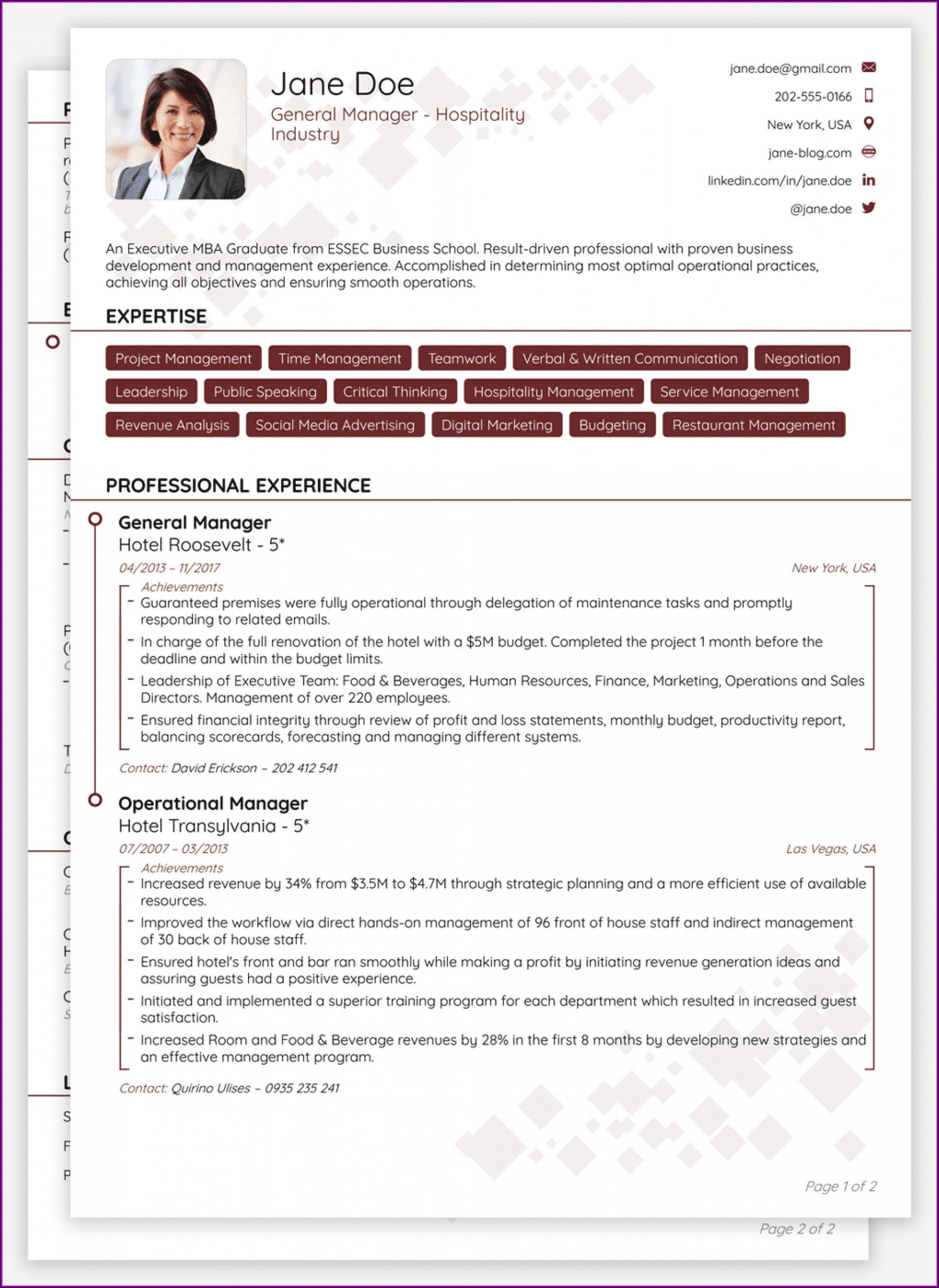 Curriculum Vitae Samples Free Download In Word