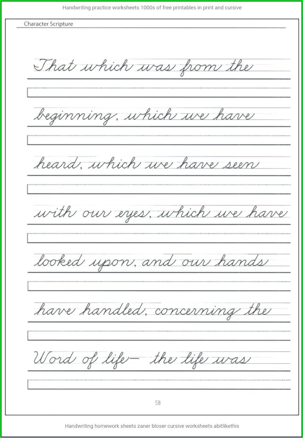 Cursive Word Worksheet Generator