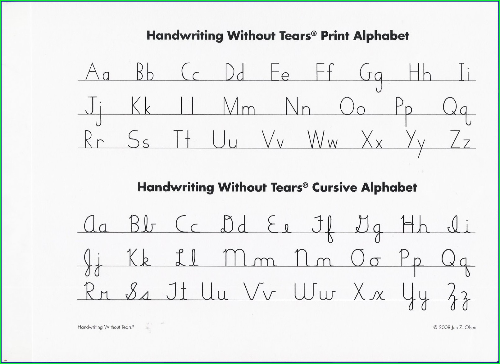 Cursive Writing Without Tears Worksheets