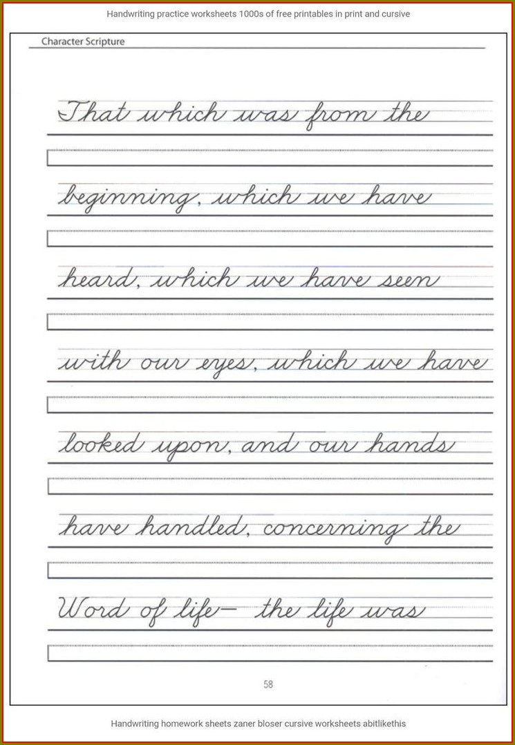 Cursive Writing Worksheets In Hindi