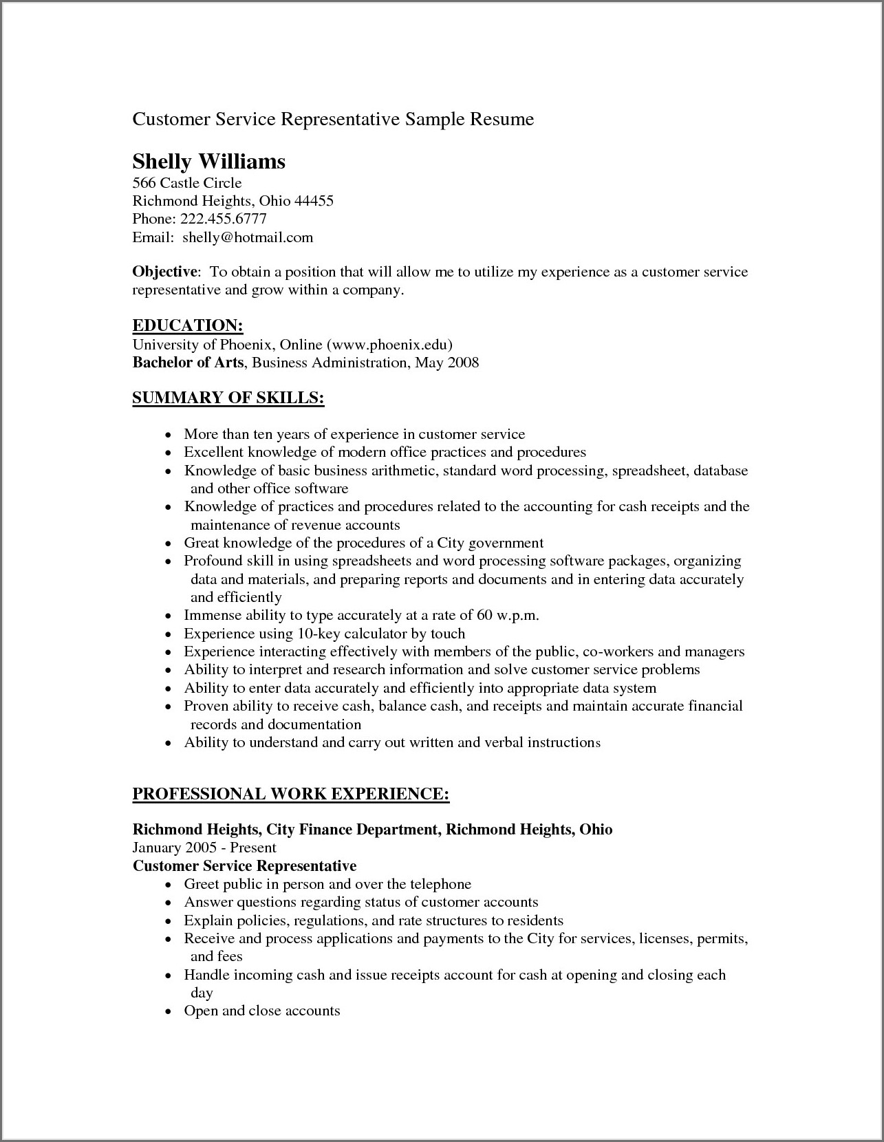 Customer Service Resume Template Monster