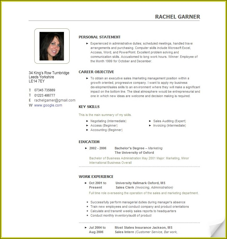Cv Sample Templates Free