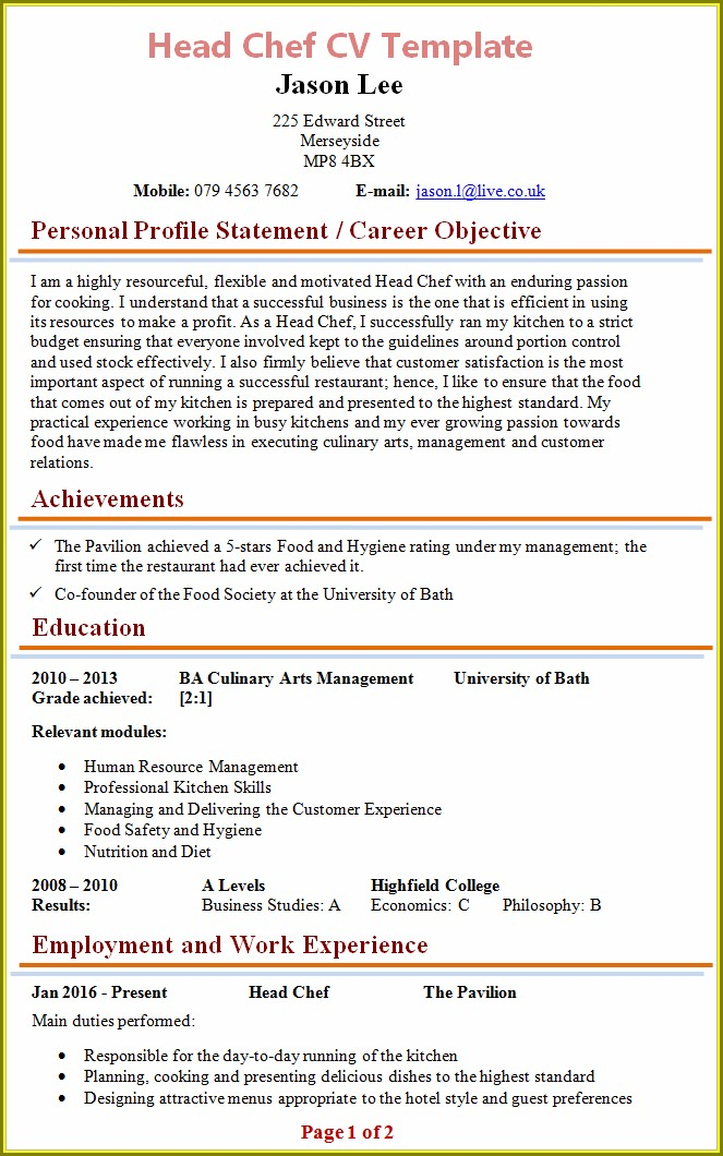 Cv Template For Chef Jobs