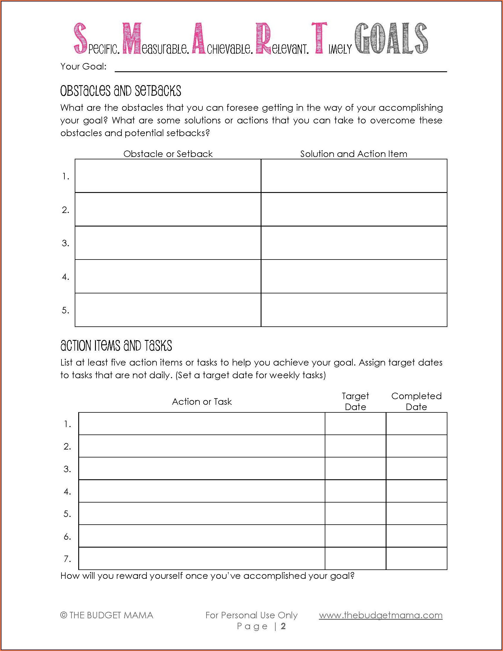 Daily Goal Setting Worksheet Pdf
