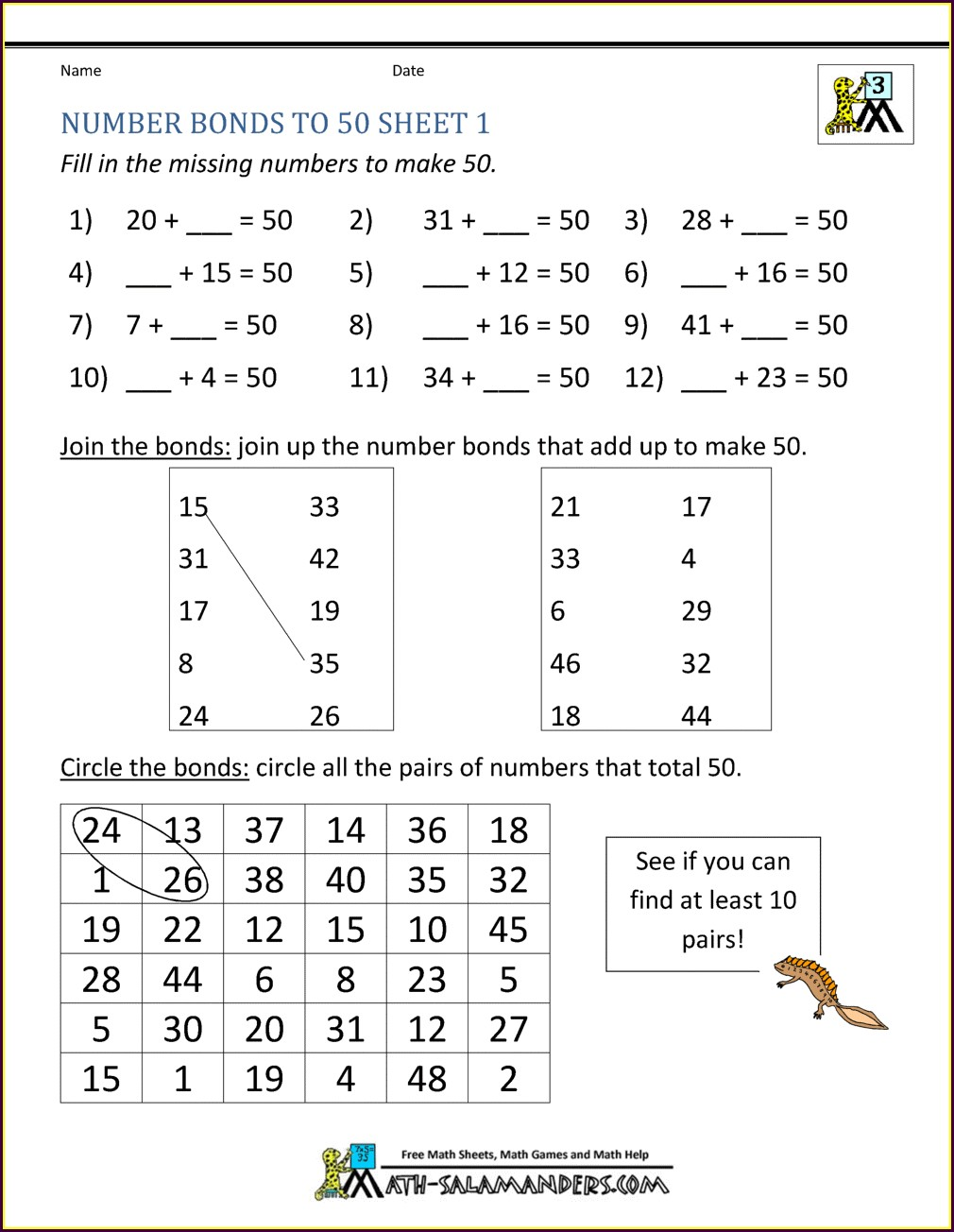 Decimal Number Bonds To 10 Worksheet