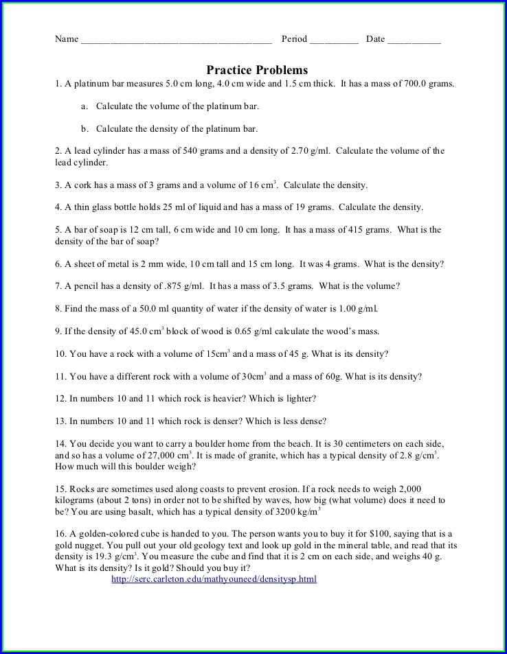 Density Practice Worksheet High School