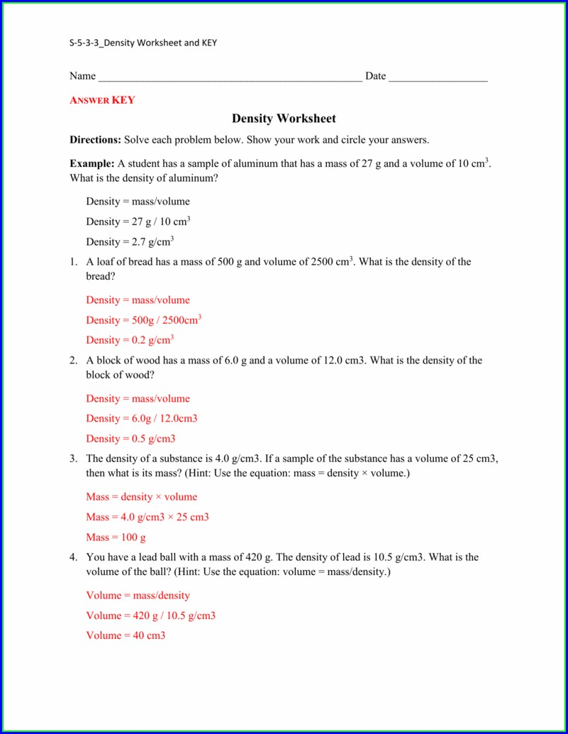Density Word Problems Worksheet Answers