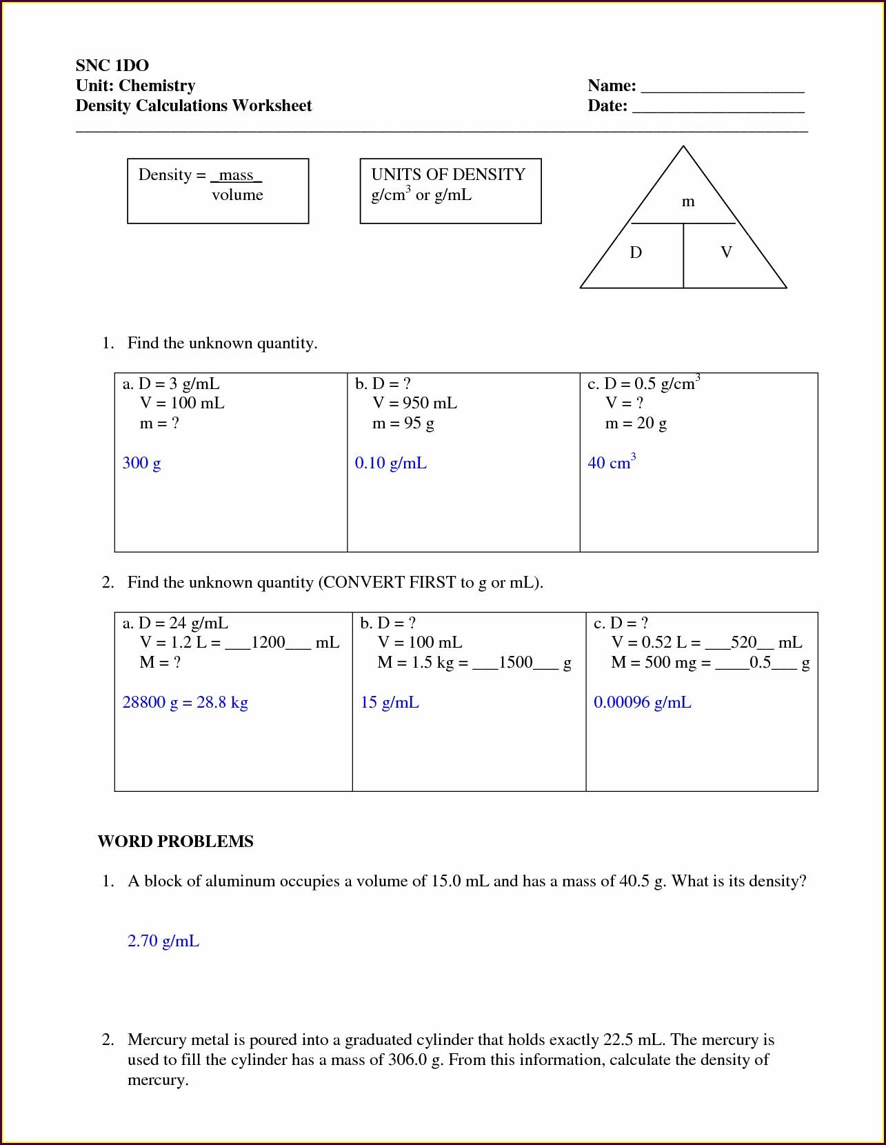 Density Worksheet For High School
